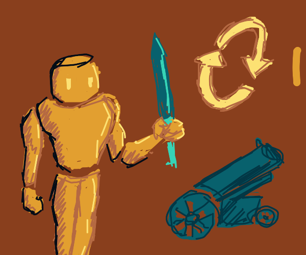 Golems Exchanging Artillery And Swords