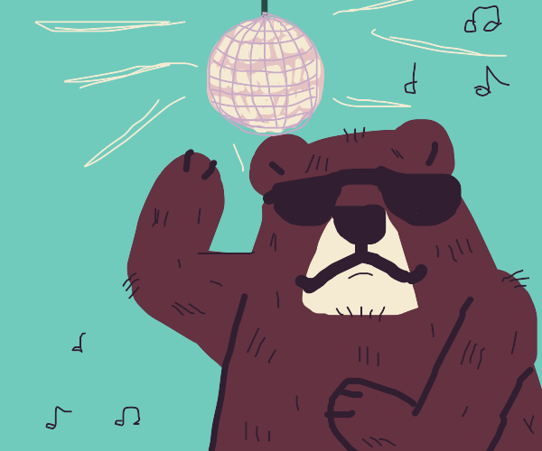 bear with eyepatch in disco