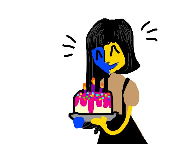 Ena has a birthday cake