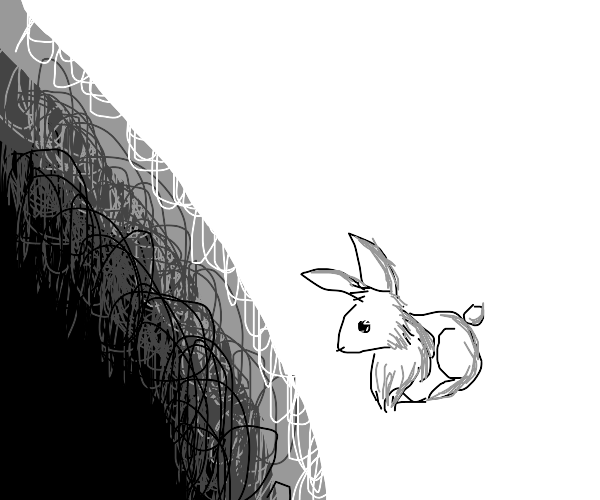 rabbit stares into the void.