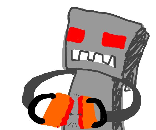 Robot breaks a block