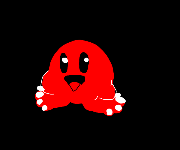 Kirby, but his feet has toes