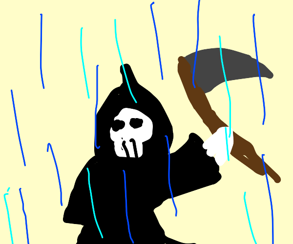 The rain falls on the reaper.