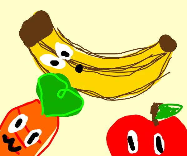 Banana, apple and carrot