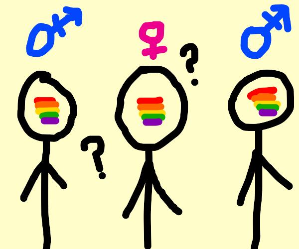 lesbian caught between two gay men