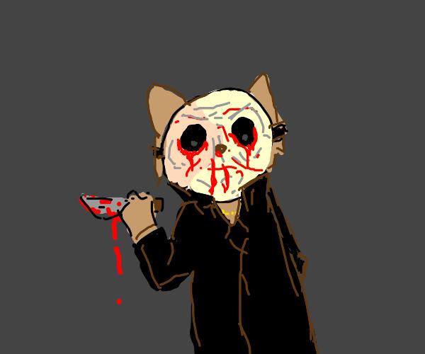 kitten murdurer with a scary mask