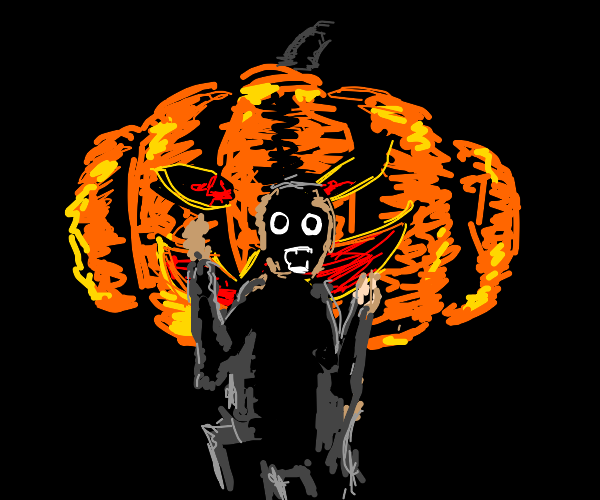man running away from a evil pumpkin