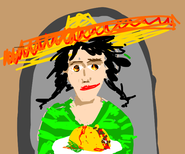 slightly insane woman serves you a taco