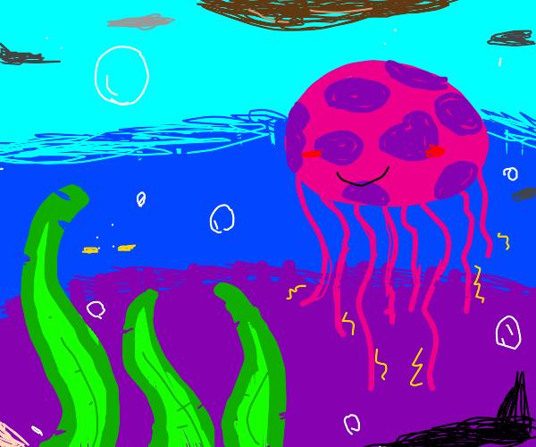 Smilling Jellyfish + seaweed