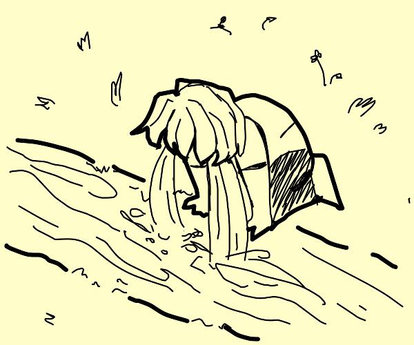 Person cries into river