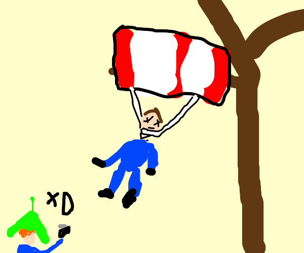A Man Hanging Himself with Parachute