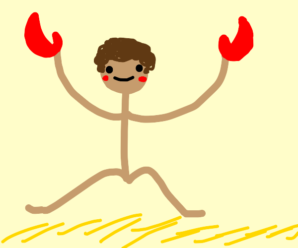 Happy man with crab hands and curly hair