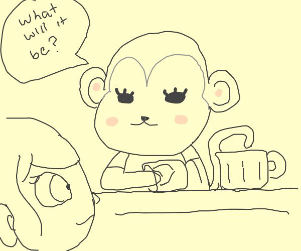 A monkey take the bar