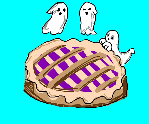 ghosts rise above a pie