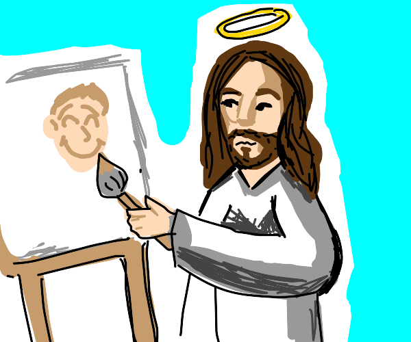 God painting a very happy dude