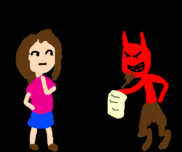 Girl is tempted by the devil