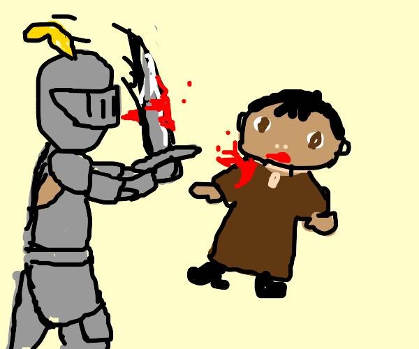 knight kills ice age baby
