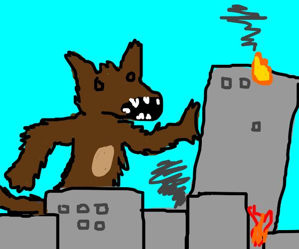 Giant Furry destroys the city