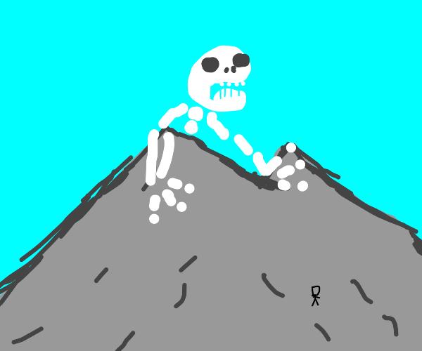 Giant Skeleton peaking over the mountains