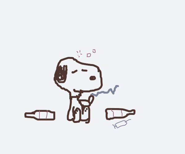 Snoopy's turned to drugs and alkihol