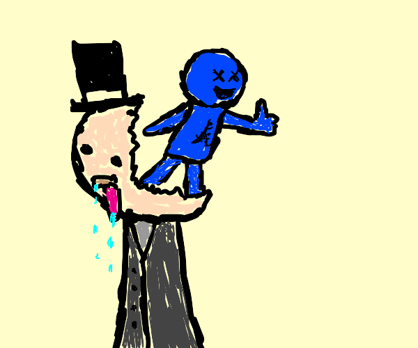 Rich man with small blue baby in the head