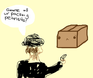 Shady man holding a box at gunpoint