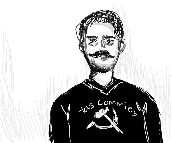 Fabulous communist wearing a communism shirt