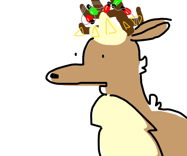 a reindeer with Christmas lights on antlers