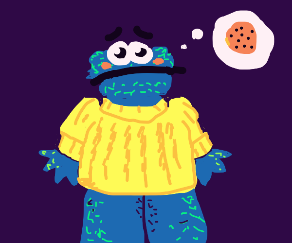 Cookie Monster Wearing a Sweater