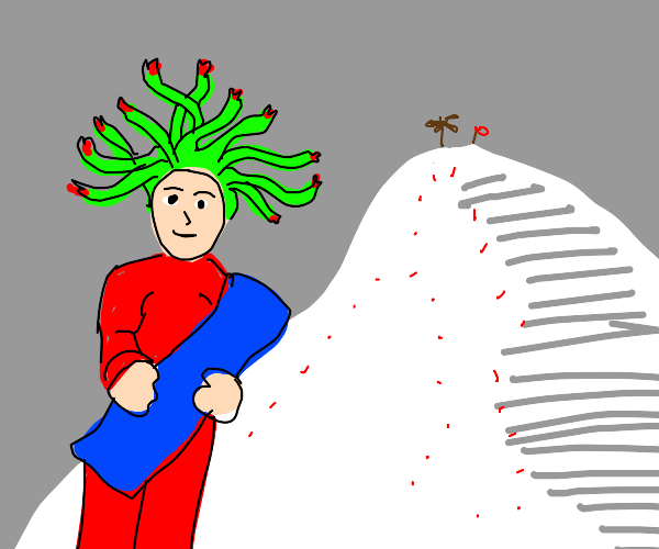 Medusa about to go snowboarding