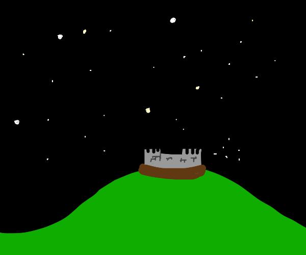 a castle on a starry night