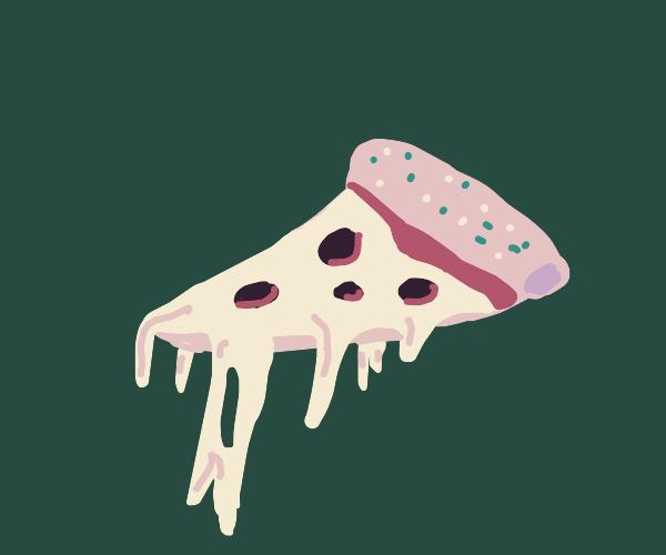 Melting pizza slice