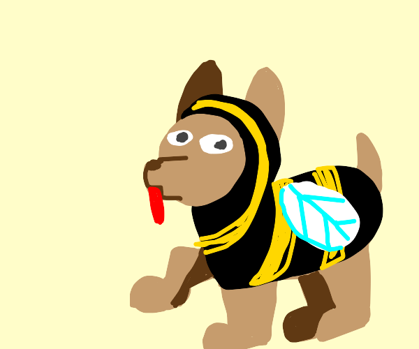 Dog disguised as a bee