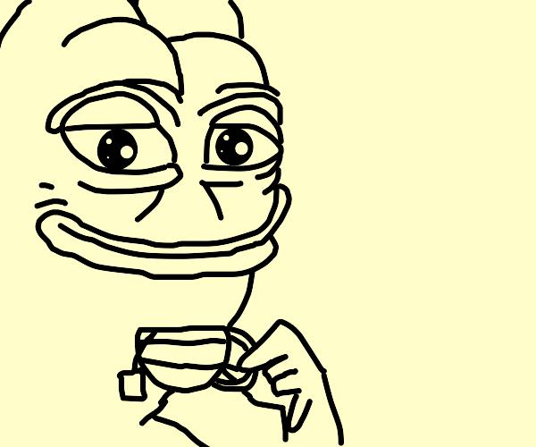 Smug pepe drinks tea