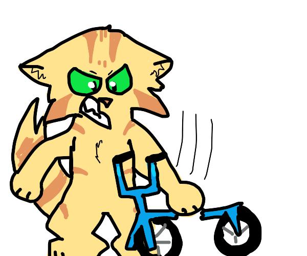 anthropomorphic tabbycat karate chops a bike