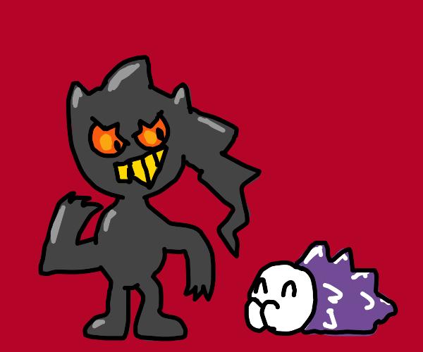 Snom follows around Banette. Pokemon.