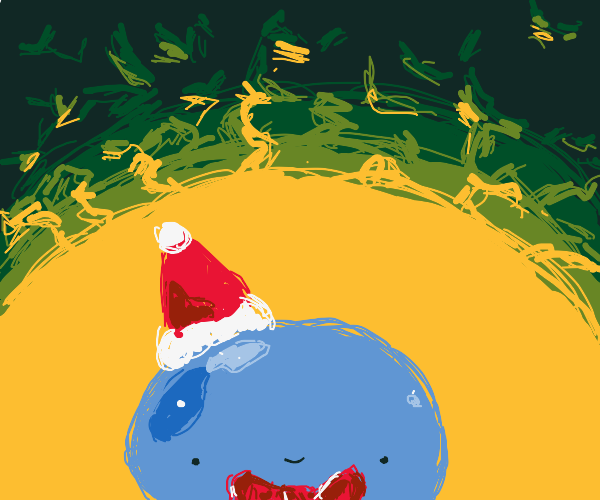 blue blob with festive bowtie lives in cave