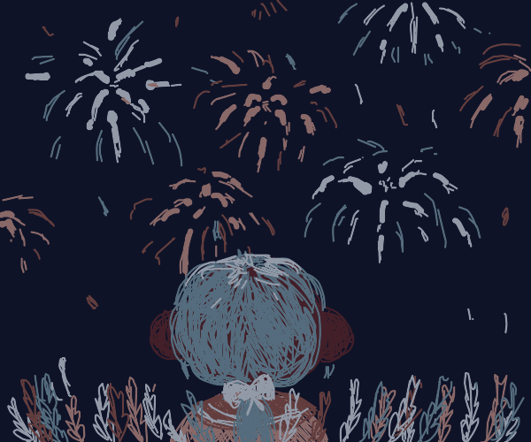 Girl admires fireworks