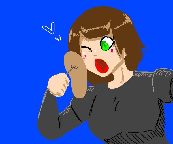 Anime girl eats pancakes