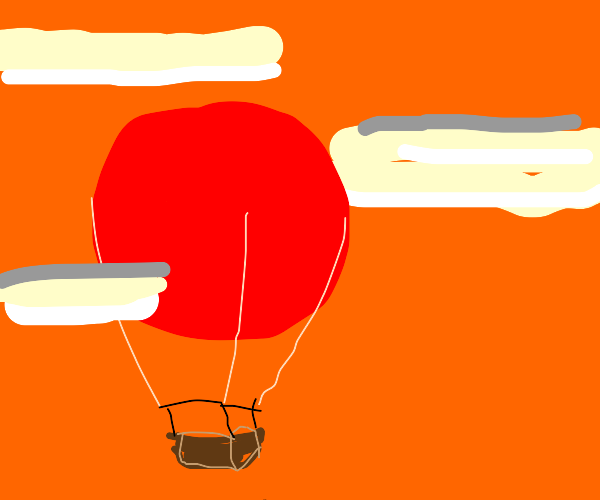 A red balloon in the clouds