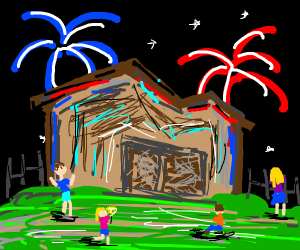 The fourth of July in someone's backyard