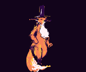 Old fox in a hat