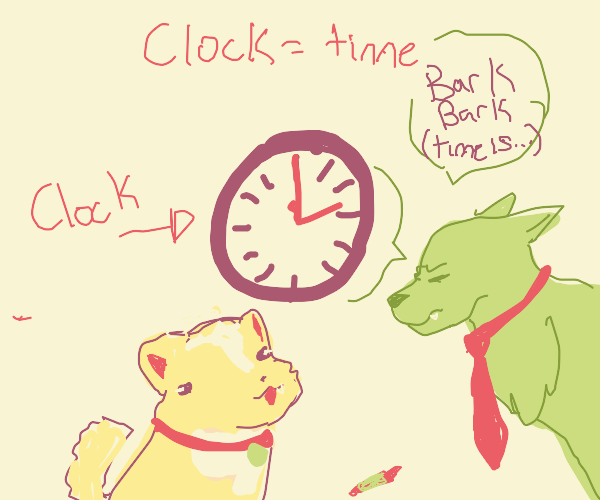 dog teaches other dog about time