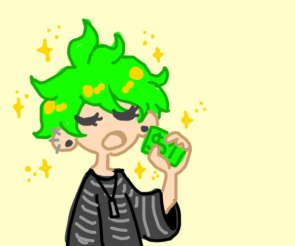 Stupid Sexy Anime guy eating a dollar