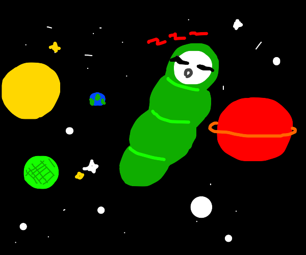 Guy in a sleeping bag floats in space