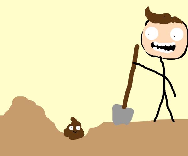 Digging up poop