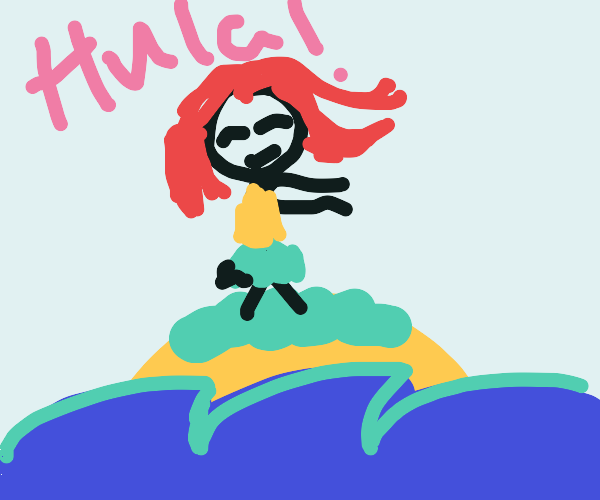 Hula dancer on an island