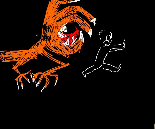 Jon runs from hand from Garfield's head