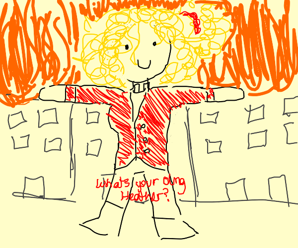 Heather chandler T-Poses as building burns