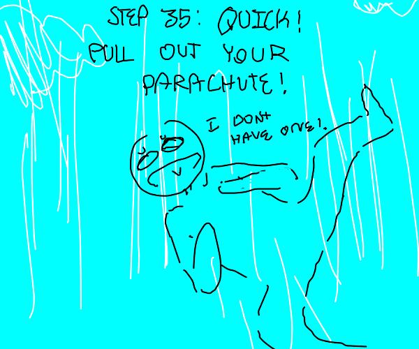 Step 34: falls off a balcony